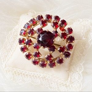 Vintage Vintage Style Brooch Red and Gold